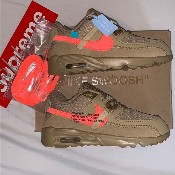 meet 933a4 aaa20 Nike Off-White Air Max 90 Desert Ore/Bright Mango NWT
